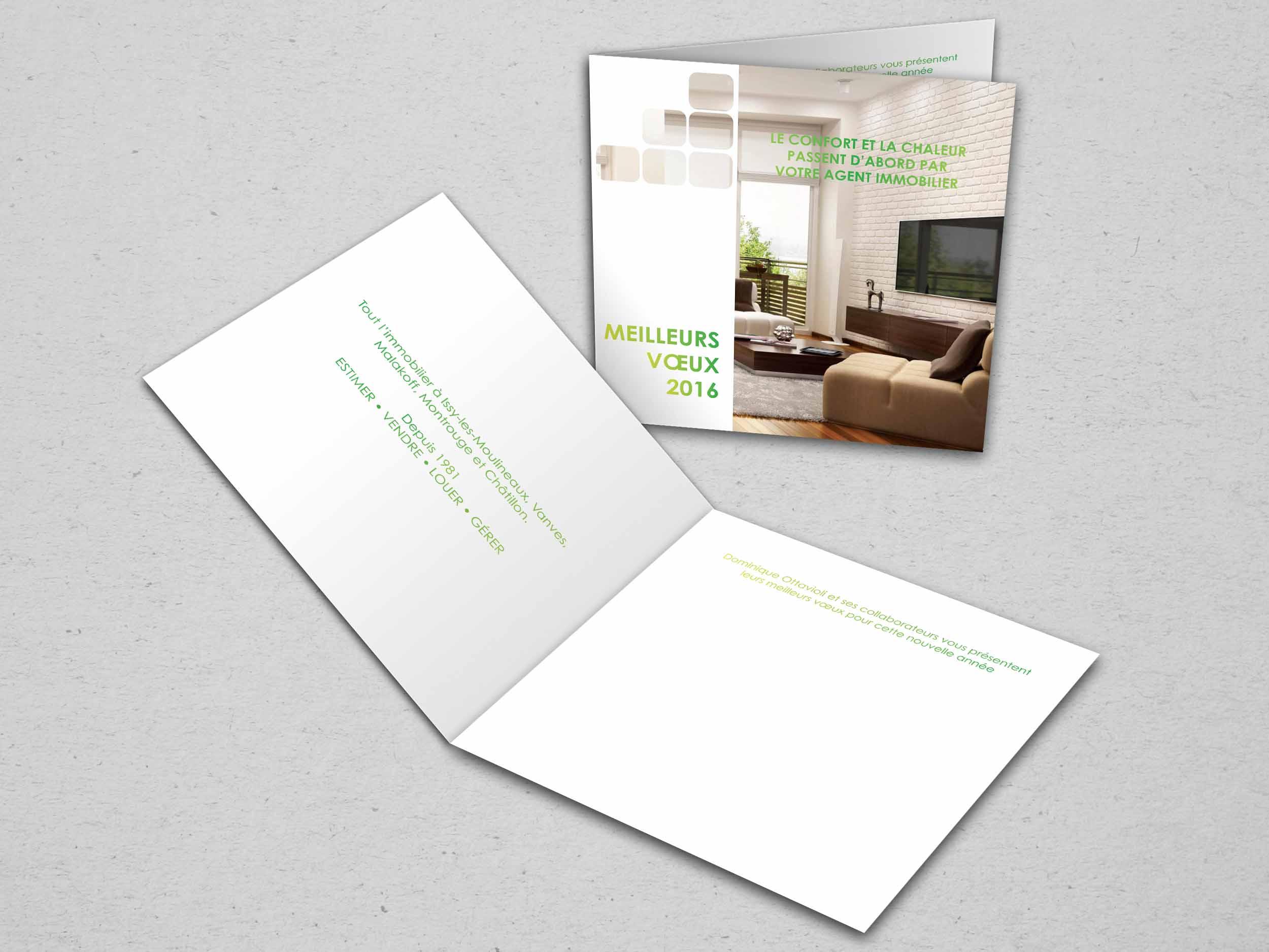 communication visuelle et production audiovisuelle, carte de voeux professionnelle, sabine immobilier, agence immobilière, cartes de voeux entreprises