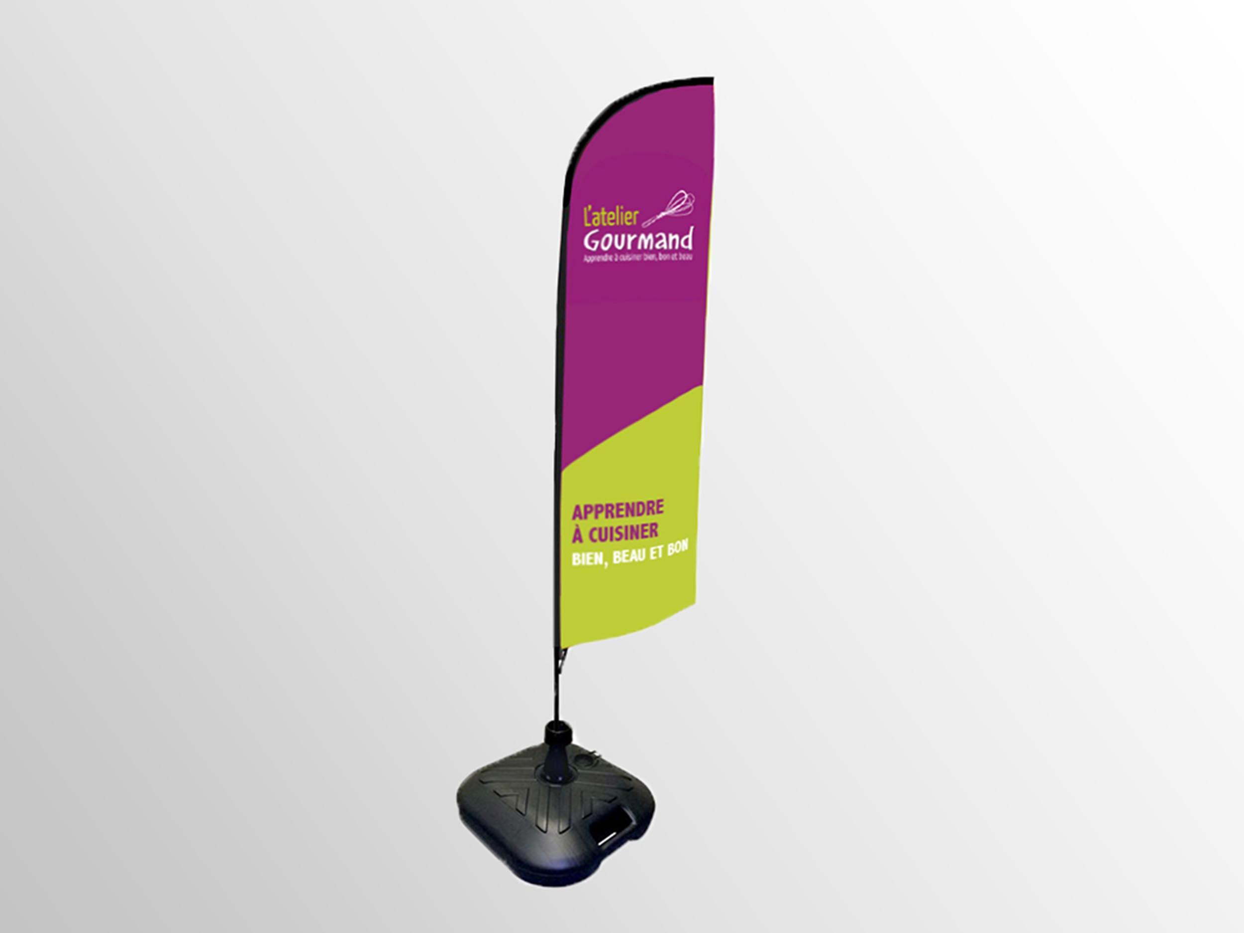 communication visuelle et production audiovisuelle, oriflamme, cuisine, atelier, gourmand, apprendre, plv-affiches-stands