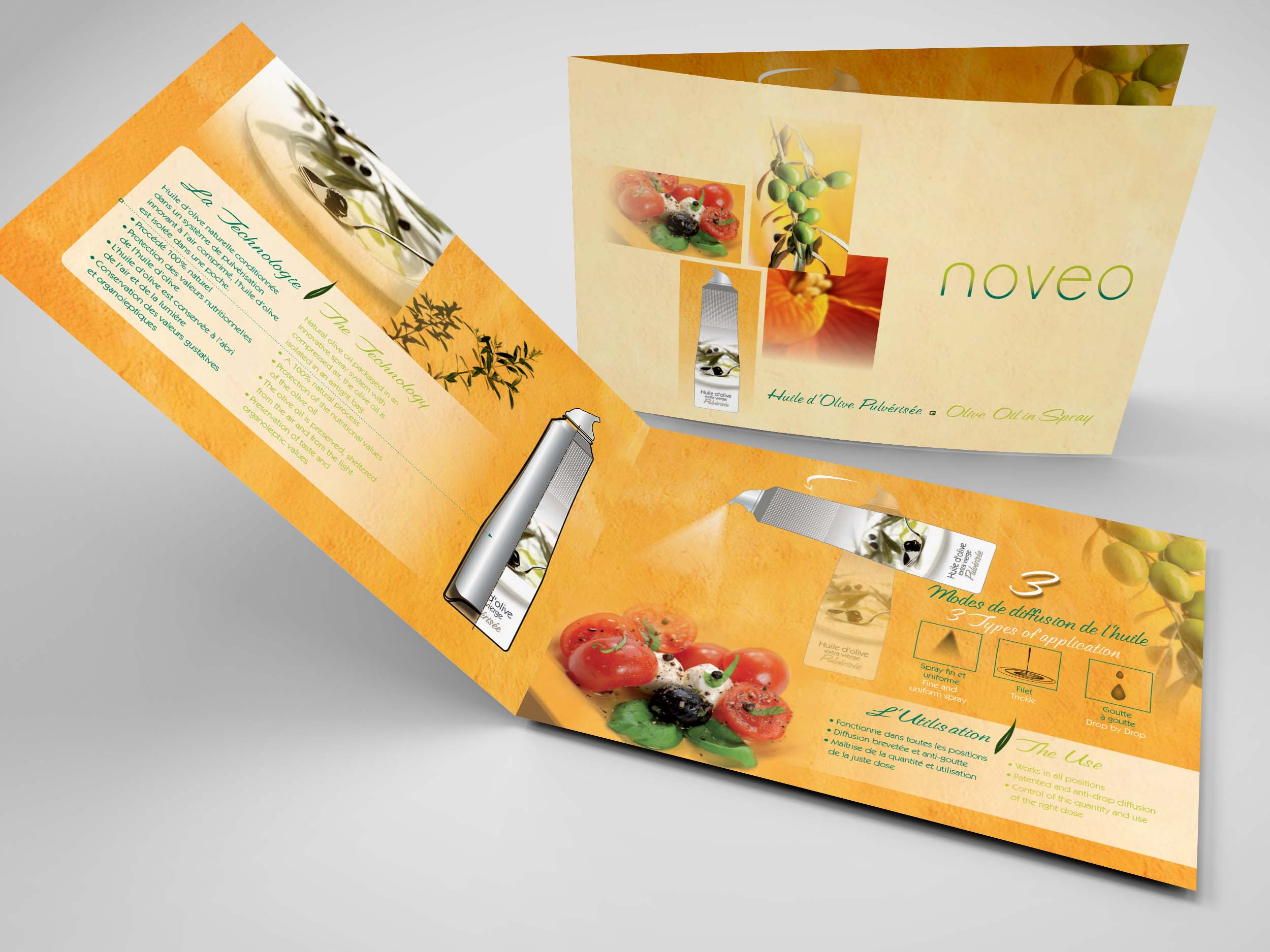 communication visuelle et production audiovisuelle, noveo, innovation, spray, huile , fareva, olive, plaquette, graphisme, conception, plaquettes - brochures, 2CO Image